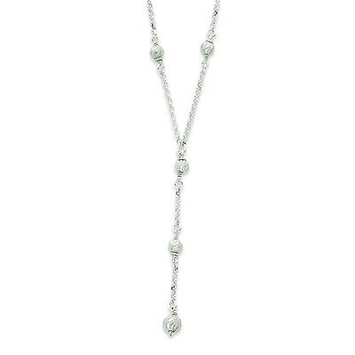 "Ladies .925 Sterling Silver 4.54mm Diamond Cut Fancy Drop 18"" Chain Necklace"