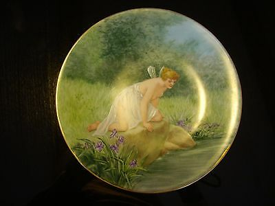 """Antique Limoges Hand Painted Plate, Semi-Nude Winged Nymph, Fairy, 7"""""""