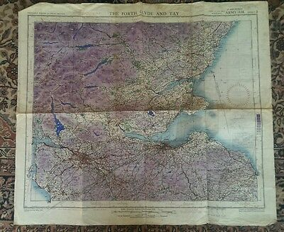 WW2 Map of The Forth, Clyde and Tay. 2nd War Revision 1944. Army/Air. Scotland.