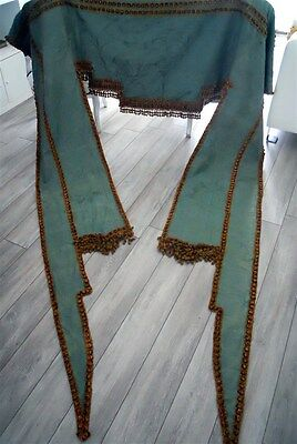 valance curtain antique French silk Lyon  and large passementery trim pompons