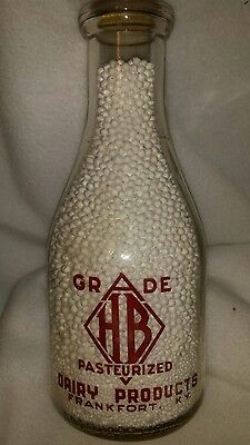 Vintage Milk, H B DAIRY PRODUCTS, FRANKFORT, KY. Round quart ACL red