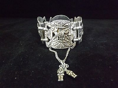 Vintage Bolivian Silver Link Bracelet - carved figures applied- 105 grams
