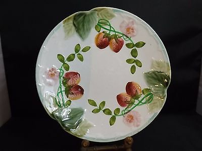 French Antique Majolica plate Strawberries marked Choisy le Roi