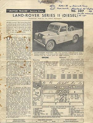 Land Rover Series II Diesel Motor Trader Service Data No. 307 1958 grubby