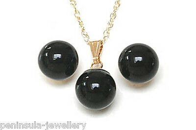 9ct Gold Black Onyx Pendant and Earring Set Made in UK Gift Boxed