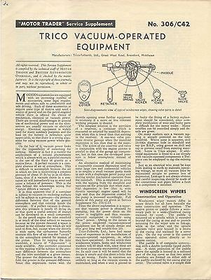 Trico Vacuum Operated Equipment Motor Trader Service Supplement No. 306/C42 1958