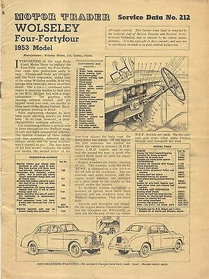Wolseley 4/44 Four-Fortyfour 1953 Model Motor Trader Service Data No. 212 1953