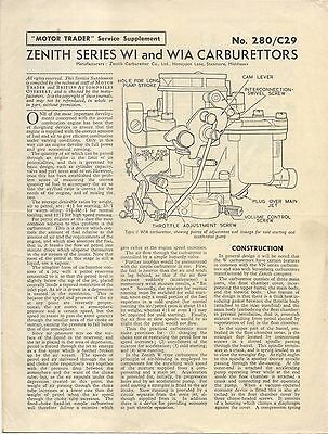 Zenith Series WI & WIA Carburettors Motor Trader Service Data No. 280/C29 1957