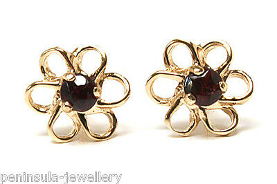 9ct Gold Garnet Daisy Studs Earrings Gift Boxed Made in UK