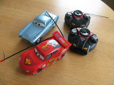 Disney Pixar Cars X 2 : Lightning  Mcqueen & Finn Mcmissile With Remote Control