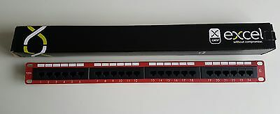 Excel Cat5e 24 Port Patch Panel in RED