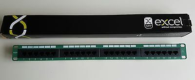Excel Cat5e 24 Port Patch Panel in GREEN