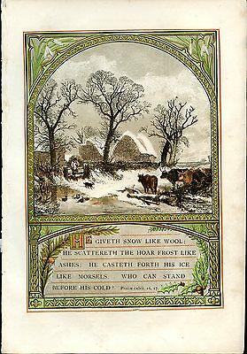 Antique Chromolithograph Psalm 147 ver 16 17 Sunday at Home 1871 gold decoration