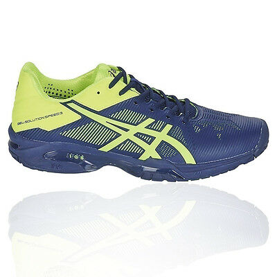 Asics Gel Solution Speed 3 Mens Green Blue Tennis Sports Shoes Trainers Pumps