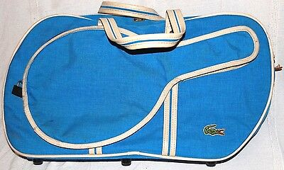 VINTAGE 70s LACOSTE BY LARK BLUE CANVAS SPORTS RAQUET CASE HOLDALL WEEKEND BAG