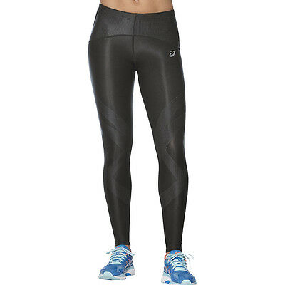 Asics Finish Advantage Womens Black Compression Running Long Tights Bottoms Pant
