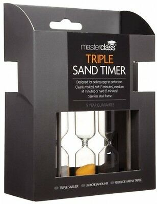 Master Class Stainless Steel Triple Hard and Soft Boiled Egg Timer / Sand Timer