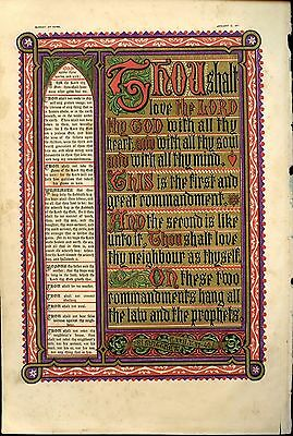 Antique Chromolithograph Ten Commandments Sunday at Home 1871 gold decoration