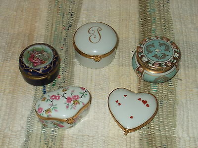 Lot 5 Vtg LIMOGES France Porcelain TRINKET BOX Floral HEART COURTING COUPLE Etc