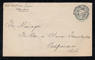 Great Britain 1897 LONDON to VALPARAISO CHILE via ANDES Postal Stationery Cover