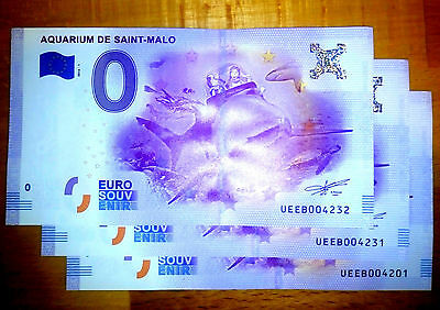 3 X Billets 0 Euro, Aquarium de SAINT-MALO, 2016-1, FR 35