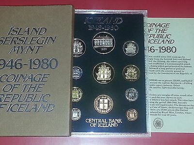 ICELAND Official Proof Set 1946-1980 in Case with CoA