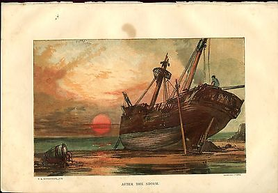 Antique Chromolithograph After the Storm Sunday at Home 1871 Ship Aground Sunset