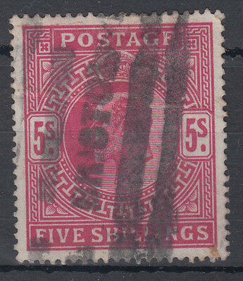 GB KEVII 5s red; Bristol Roller Cancel; Good Used, but horizontal crease;SG 263?