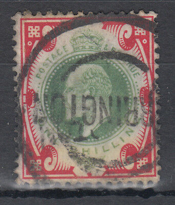 GB KEVII 1s green and red; Warrington (?) Parcel Cancel; Good Used