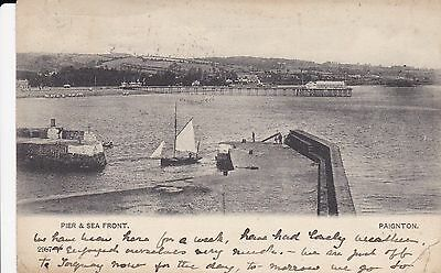 """RPPC of """" Pier and Sea Front ,Paignton """"  posted 1904 stamp removed"""