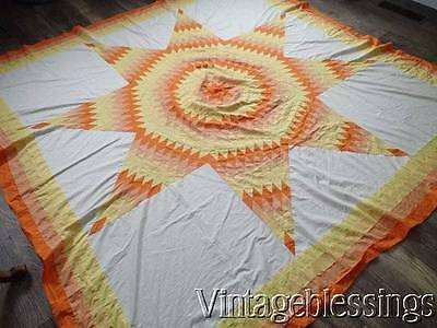 "Large Vintage 30-40s Texas Star QUILT TOP  80"" Yellow Orange Sunrise Colors"