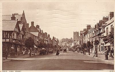 """RPPC of """" Mold , High Street  """"  posted 1943"""