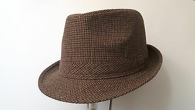 BNWT Unisex Brown Tweed Patterned Trilby Style Hat L/XL. New. Winter Accessory.