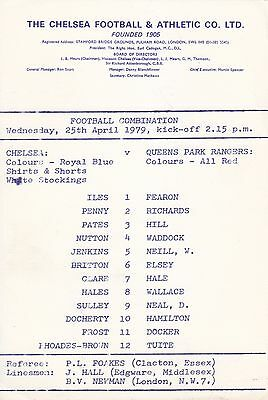 Chelsea v Queens Park Rangers, Football Combination, Wednesday, 25th April 1979