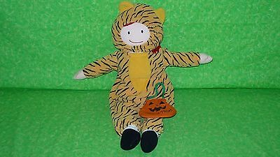 MADELINE DOLL Plush Ragdoll w/ Halloween Costume TIGER Outfit TRICK OR TREAT BAG