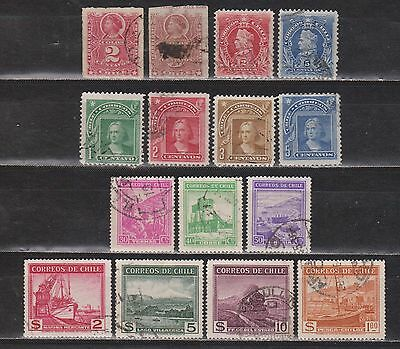 Chile - 1878-1938 - 15 Different Stamps