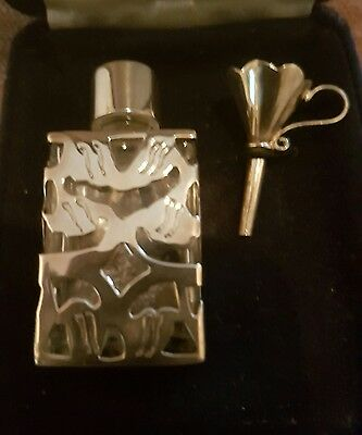 ARI D NORMAN 925 STERLING SILVER & Glass Perfume Bottle With Funnel
