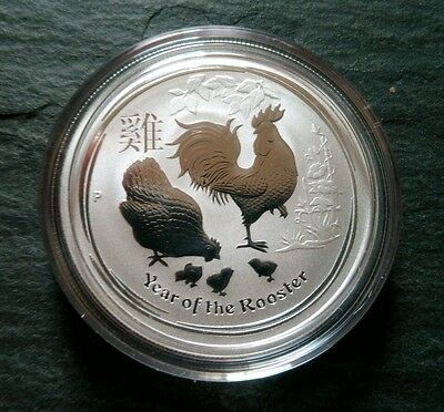 2oz Australian 2017 Lunar Year Of the Rooster Silver Bullion Coin