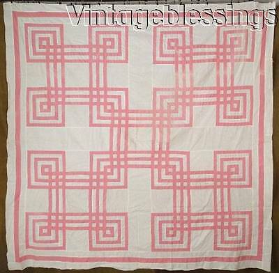 "VINTAGE 30s Carpenters Square Pink White QUILT TOP 80"" x 79"""