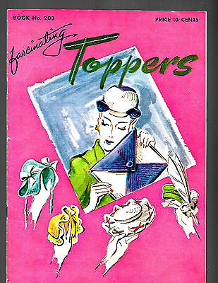 Vintage 1944 Ww2 Spool Cotton Co Book 208 Fascinating Toppers Hat Crochet Fhotos