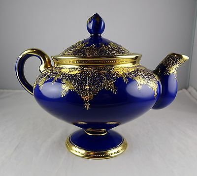 Nippon China Hand Painted Cobalt & Heavy Gold Teapot