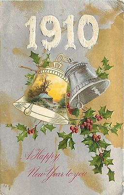 New Year Large Snow Number 1910~Pewter Porcelain Bells Ring~Silver Gold~Winsch