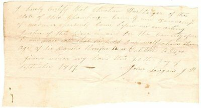1819 OH Wolf Scalp $4 bounty Certificate ; hunting, trapping