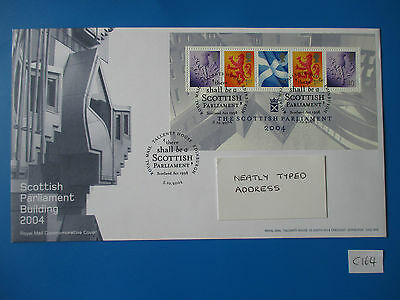 2004 GB Commemorative FDC: THe Scottish Partiament M/S #C164