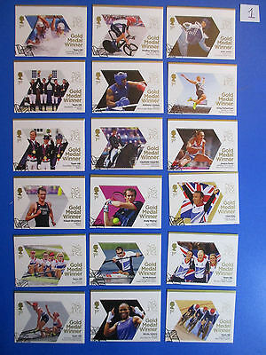 2012 GB Olympic Winners: Full set, 29 stamps from mini-sheets: used, ex-fdc #1