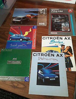 Citroen And Peugeot sales brochures, 205, 106, citroen Ax Retro early 90s