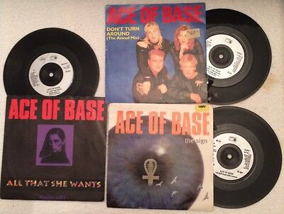 """3 Original 7"""" Records ACE OF BASE All That She wants,The Sign, Don't Turn Around"""