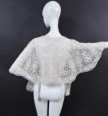 Exquisite Floral Lace & Embroidered Cotton Organdy Large Cape For Dress