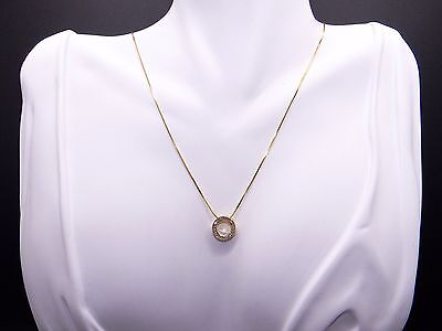 14k Yellow Gold Round Diamond Circle Halo Slide Cluster Pendant Necklace 18 inch