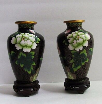 Pair of Vintage Chinese Floral Cloisonne Vases With Original Wood Stands